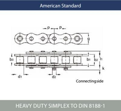 American Standard Heavy Duty Simplex Roller Chain ISO 606